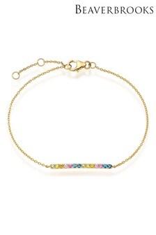 Beaverbrooks 9ct Gold Multicoloured Sapphire Bracelet
