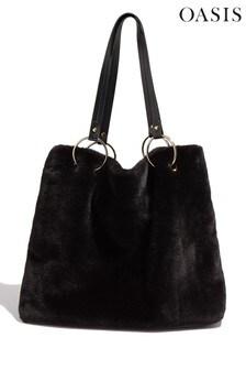 Oasis Black Faux Fur Tote Bag