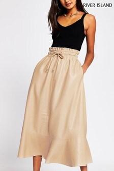 River Island Cream Elastic Waist Midi Skirt