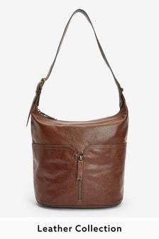 Leather Bucket Zip Front Bag