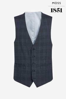 Moss 1851 Tailored Fit Textured Grid Check Waistcoat