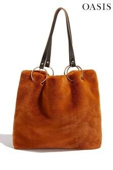 Oasis Tan Faux Fur Tote Bag
