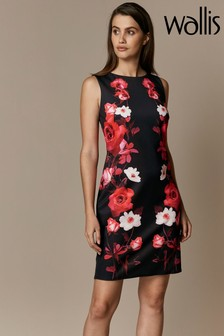 Wallis Black Trailing Rose Scuba Shift Dress