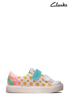 Clarks White Combi City Bright T Canvas Shoes