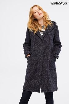White Stuff Blue Hooded Wool Coat