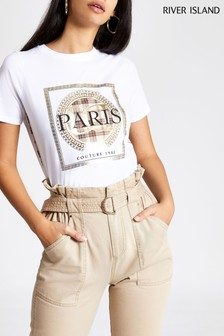 River Island White Paris Couture Check Piping T-Shirt