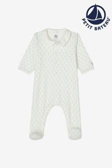 Petit Bateau White Sailboat Print Babygrow