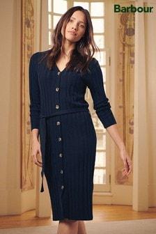 Barbour® Tartan Navy Aria Button Jumper Dress