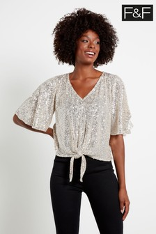 F&F Silver Tie Front Sequin Top