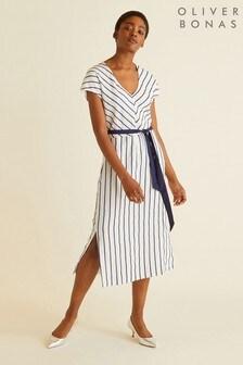 Oliver Bonas Striped V-Neck Midi Dress
