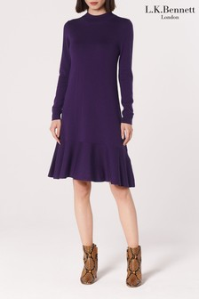 L.K. Bennett Purple Flossy Wool Dress
