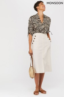 Monsoon Cream Freddie Button Skirt