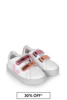 Girls White And Pink Esplar Velcro Trainers