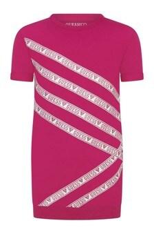 Girls Pink Cotton Short Sleeve Sweater Dress