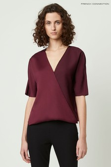 French Connection Purple Alessia Satin Wrap Top Shirt