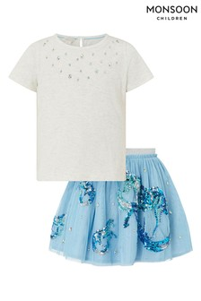 Monsoon Blue Disco Water Horse Top & Skirt Set