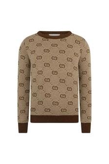Boys Beige Wool Sweater