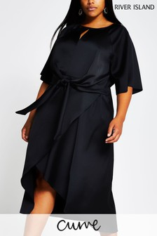 River Island Black Tie Side Asymmetric Midi Dress