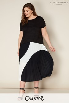 Live Unlimited Black/White Spot Pleated Skirt