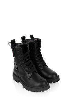 Kids Black Lace-Up Boots