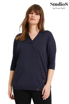 Studio 8 Blue Bonita Button Knit Jumper