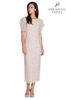 Adrianna Papell Nude Beaded Ankle Length Dress