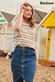 Barbour® Coastal Indigo Wash Denim Pencil Midi Skirt