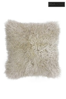 Riva Home Cream Mongolian Faux Fur Cushion
