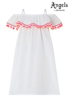 Angels by Accessorize White Bardot Pom Pom Dress
