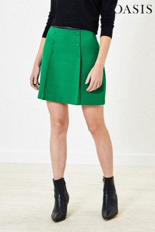 Oasis Green Button Detail Mini Skirt