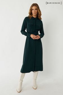 Warehouse Green Belted Midi Shirt Dress