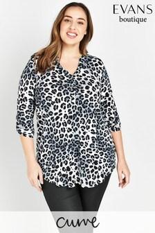Evans Curve Grey Animal Print Jersey Shirt