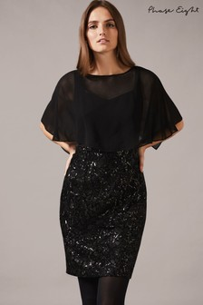 Phase Eight Black Marcy Sequin Skirt Dress