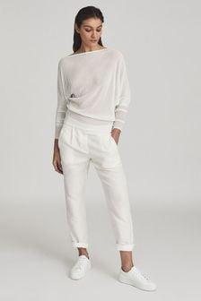 Reiss White Anna Semi-Sheer Asymmetric Top
