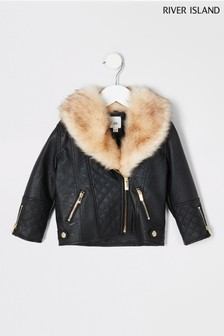 River Island Black Quilted PU Faux Fur Biker Jacket