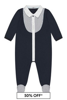 Boss Kidswear Baby Boys Navy Cotton Babygrow