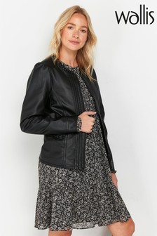 Wallis Black Faux Leather Frill Trim Jacket