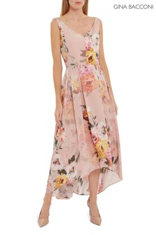 Gina Bacconi Pink Marca Floral Dipped Hem Dress