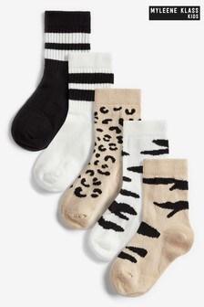 Myleene Klass Kids Unisex 5 Pack Animal Socks
