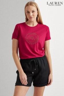 Lauren Ralph Lauren® Pink Embellished Logo Hailly T-Shirt