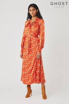 Ghost London Red Lyn Ditsy Print Satin Dress