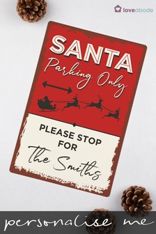 Personalised Santa Parking Only Sign by Loveabode