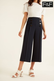 F&F Blue Button Detail Crop Trousers
