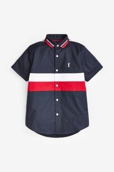 Colourblock Short Sleeve Shirt With Jersey Collar (3-16yrs)