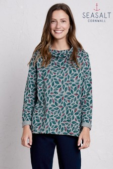 Seasalt Low Seas Sweatshirt Embroidered Leaves Lake