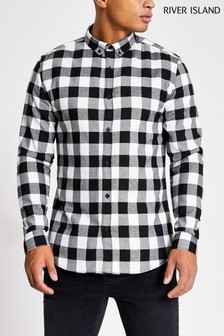 River Island Black Buffalo Check Shirt