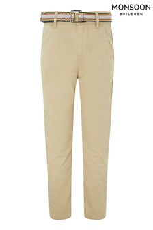 Monsoon Children Cream Stone Belted Chino Trousers