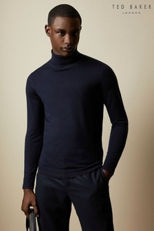 Ted Baker Blue Newtrik Fitted Roll Neck Jumper