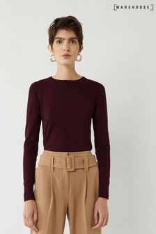 Warehouse Purple Button Cuff Crew Jumper