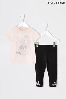 River Island Pink Pie Crust Perfume T-Shirt And Leggings
